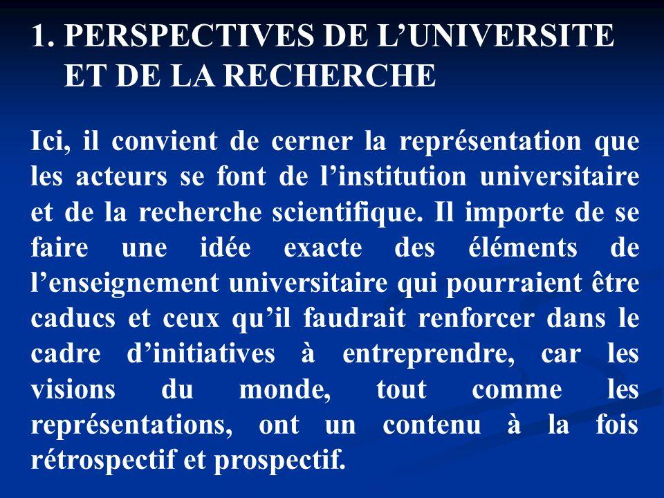 PERSPECTIVES DE L'UNIVERSITE ET DE LA RECHERCHE
