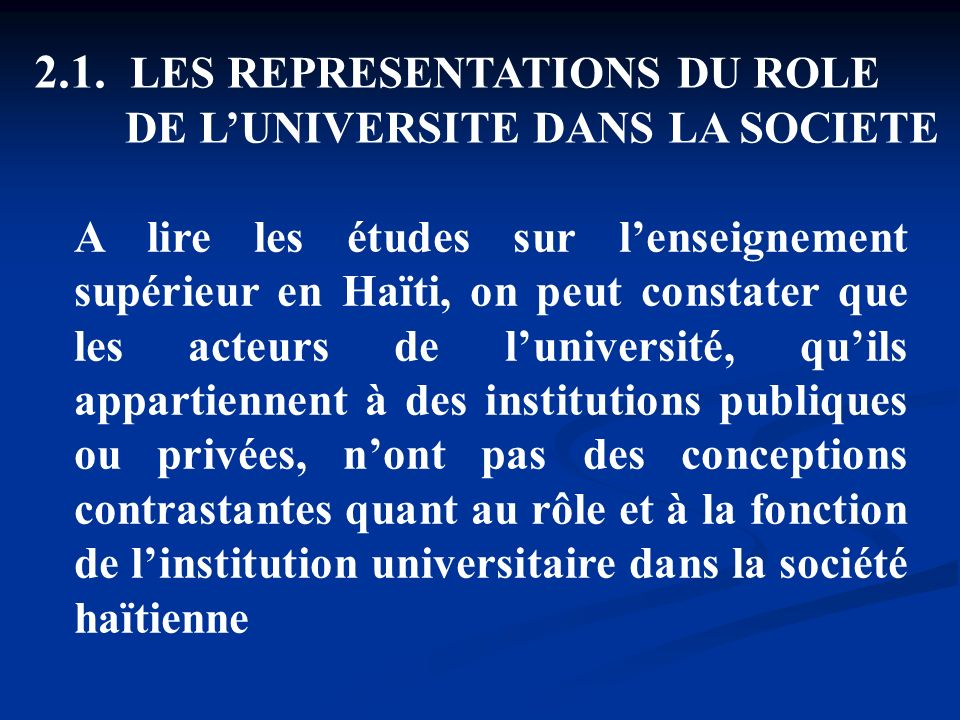 2.1. LES REPRESENTATIONS DU ROLE