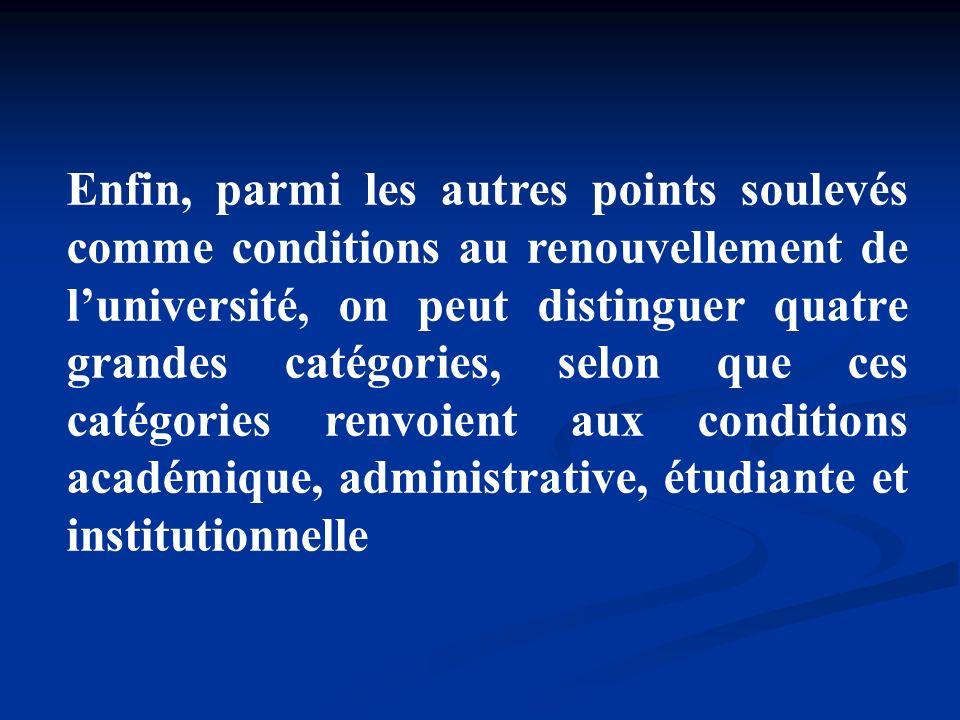 Enfin, parmi les autres points soulevés comme conditions au renouvellement de l'université, on peut distinguer quatre grandes catégories, selon que ces catégories renvoient aux conditions académique, administrative, étudiante et institutionnelle