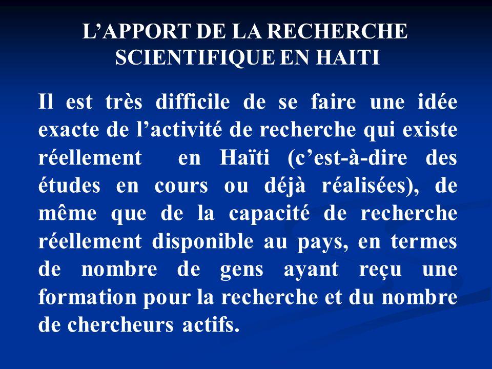 L'APPORT DE LA RECHERCHE
