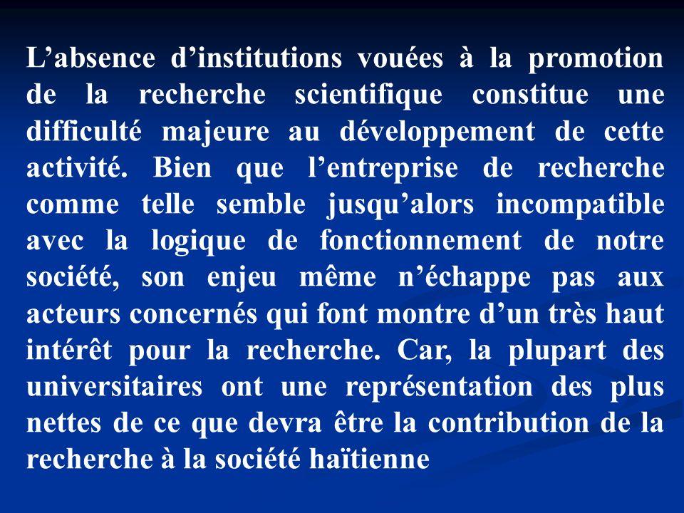 L'absence d'institutions vouées à la promotion de la recherche scientifique constitue une difficulté majeure au développement de cette activité.
