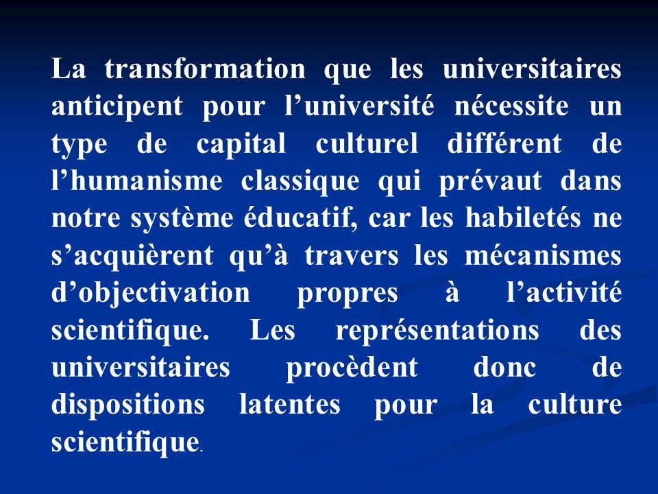 La transformation que les universitaires anticipent pour l'université nécessite un type de capital culturel différent de l'humanisme classique qui prévaut dans notre système éducatif, car les habiletés ne s'acquièrent qu'à travers les mécanismes d'objectivation propres à l'activité scientifique.