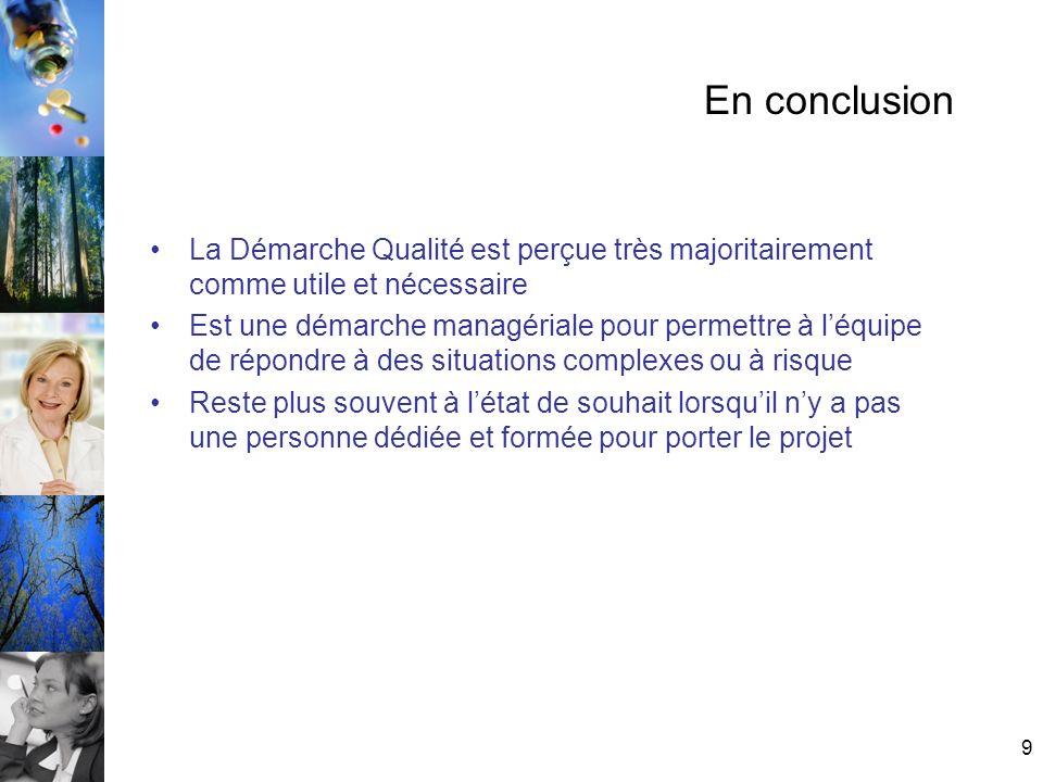 En conclusionLa Démarche Qualité est perçue très majoritairement comme utile et nécessaire.