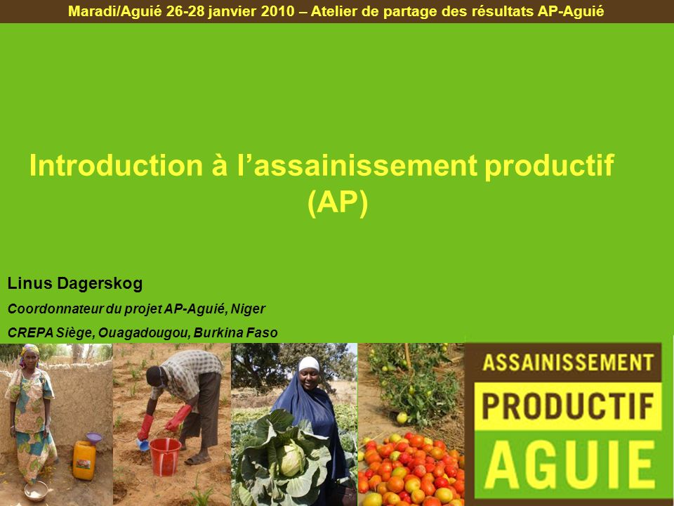 Introduction à l'assainissement productif (AP)