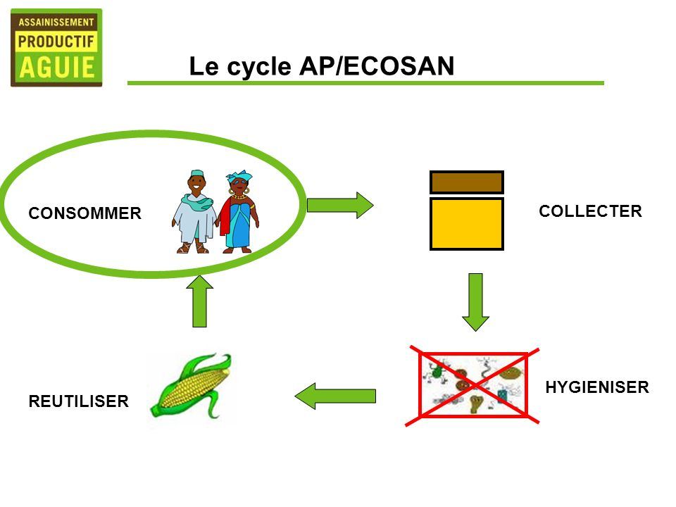 Le cycle AP/ECOSAN CONSOMMER COLLECTER HYGIENISER REUTILISER