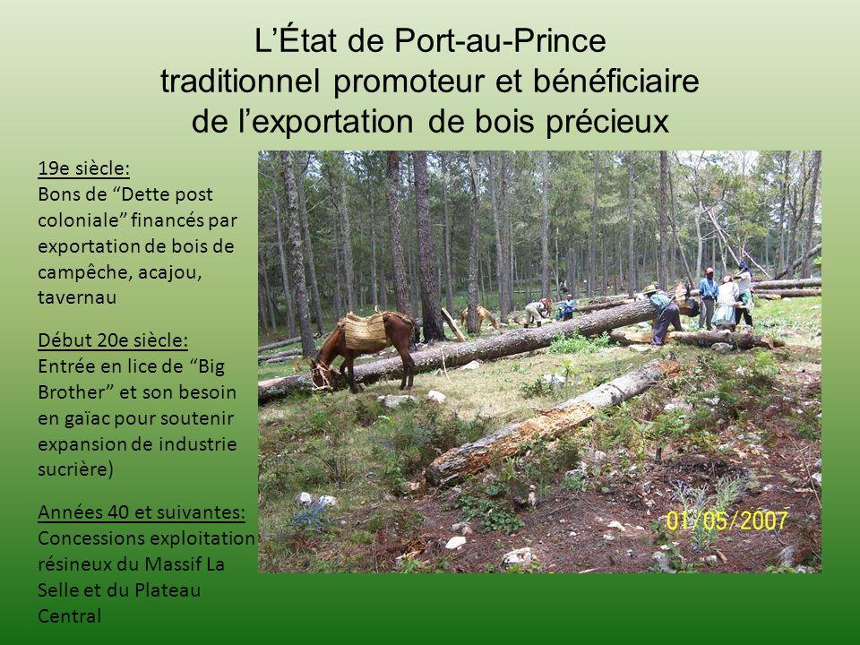 L'État de Port-au-Prince traditionnel promoteur et bénéficiaire de l'exportation de bois précieux