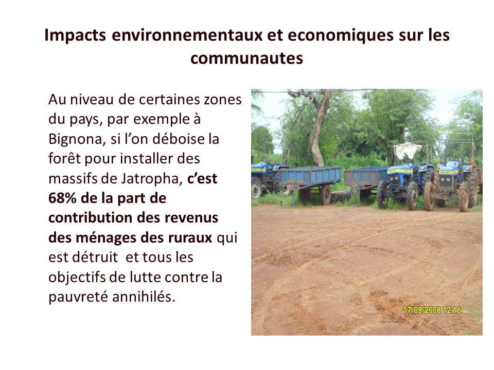 Impacts environnementaux et economiques sur les communautes