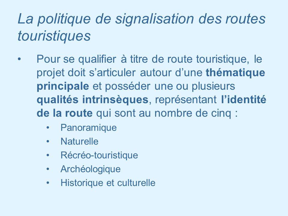 La politique de signalisation des routes touristiques