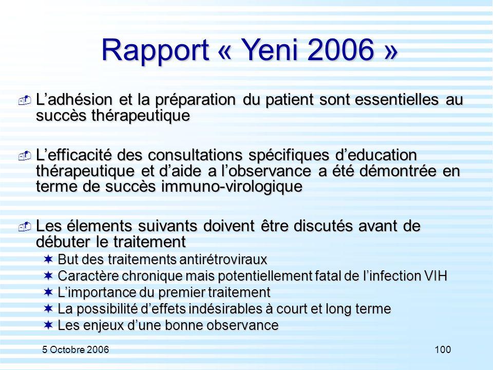 Rapport « Yeni 2006 » L'adhésion et la préparation du patient sont essentielles au succès thérapeutique.
