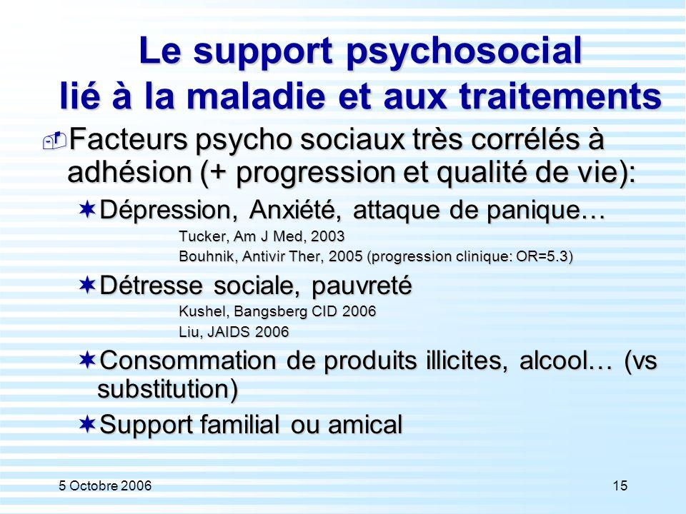 Le support psychosocial lié à la maladie et aux traitements