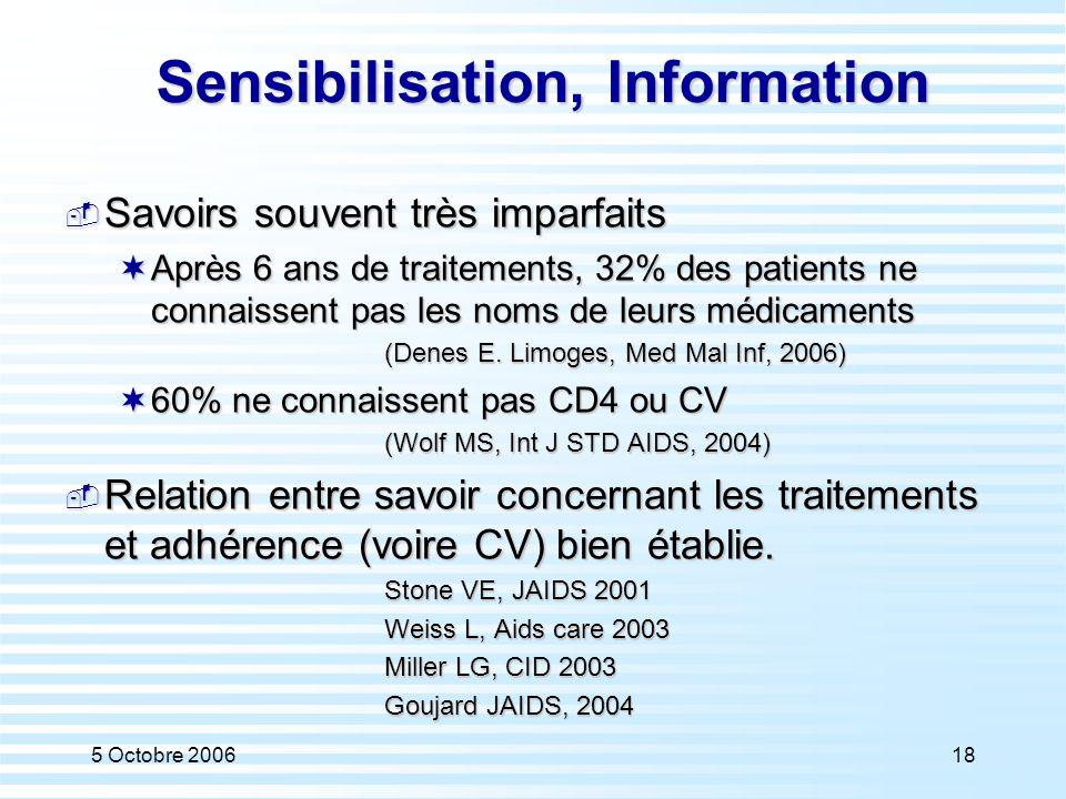 Sensibilisation, Information