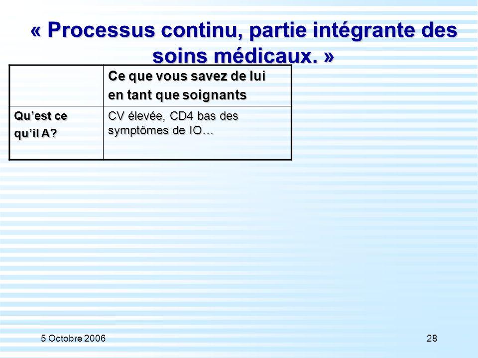 « Processus continu, partie intégrante des soins médicaux. »
