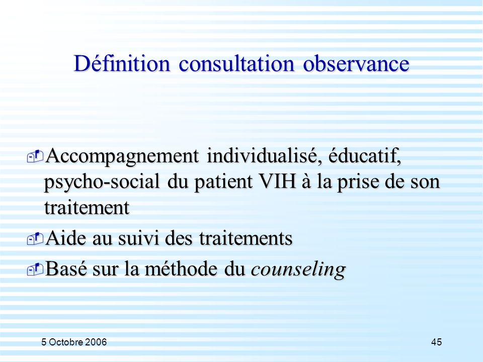 Définition consultation observance