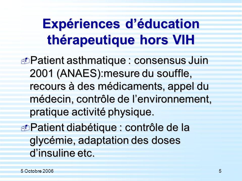 Expériences d'éducation thérapeutique hors VIH