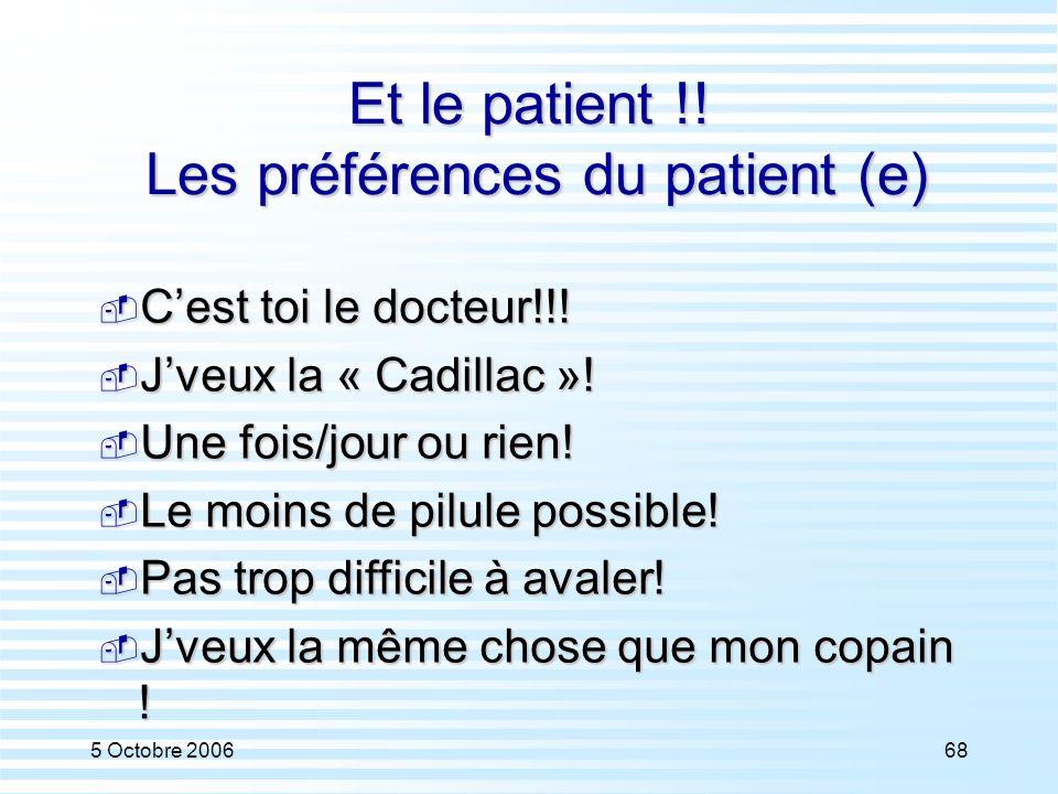 Et le patient !! Les préférences du patient (e)