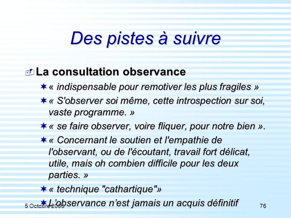 Des pistes à suivre La consultation observance