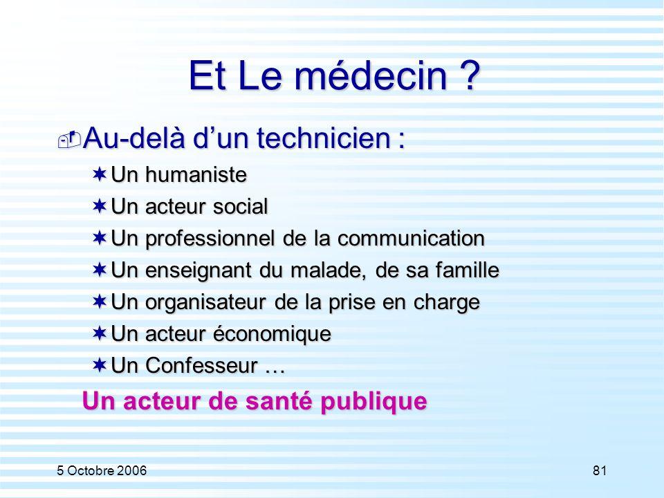 Et Le médecin Au-delà d'un technicien : Un acteur de santé publique