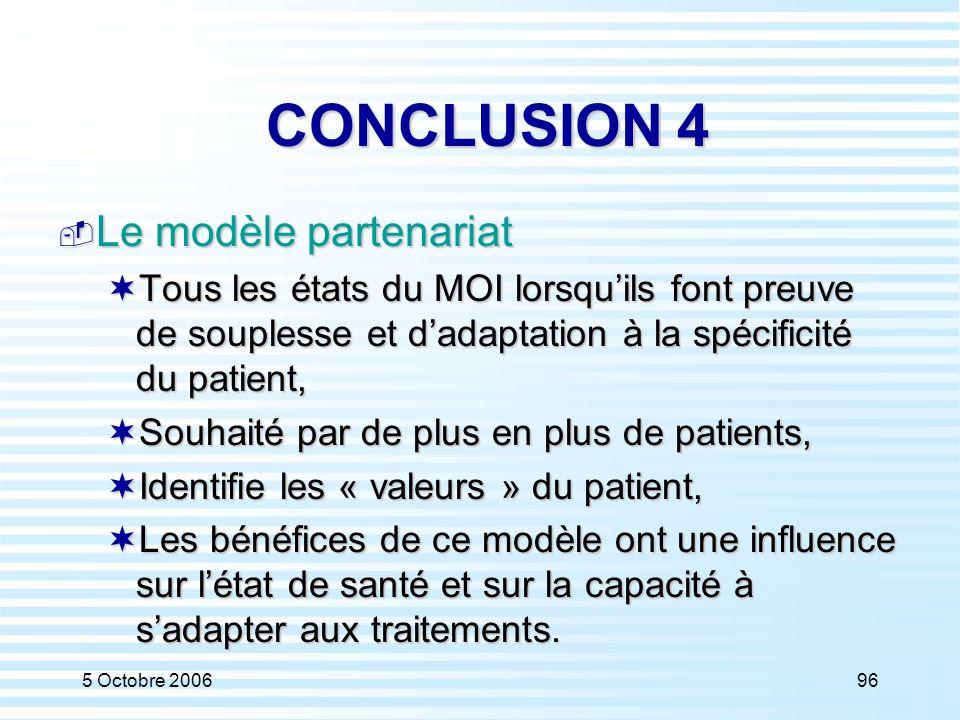 CONCLUSION 4 Le modèle partenariat