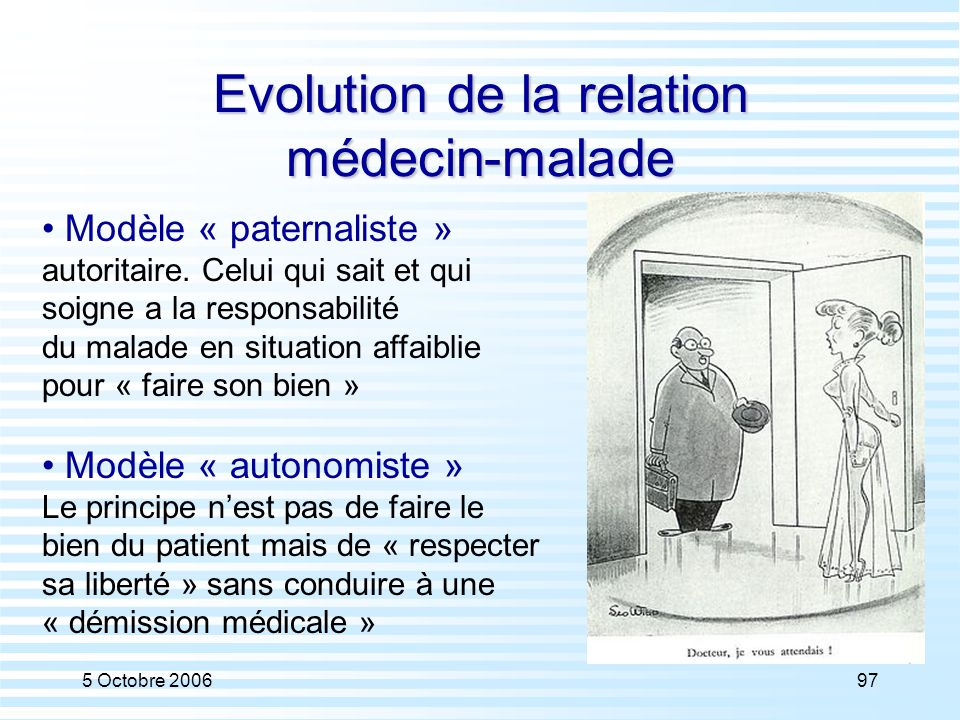 Evolution de la relation médecin-malade
