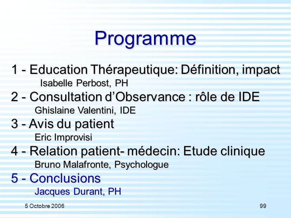 Programme 1 - Education Thérapeutique: Définition, impact
