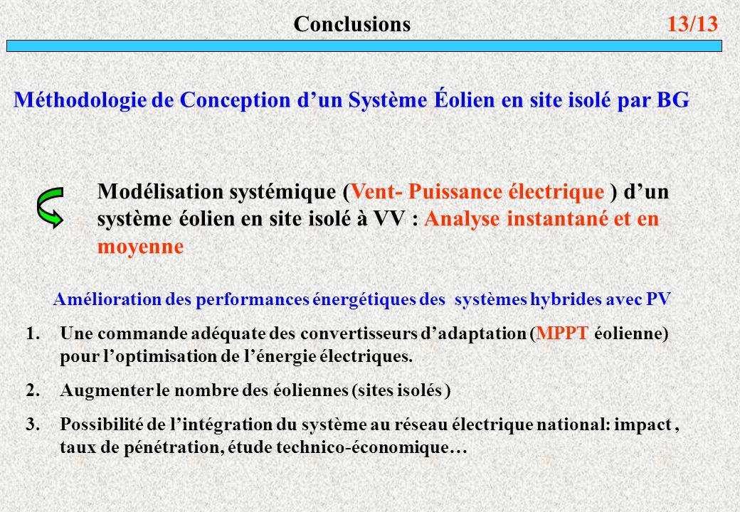 Méthodologie de Conception d'un Système Éolien en site isolé par BG
