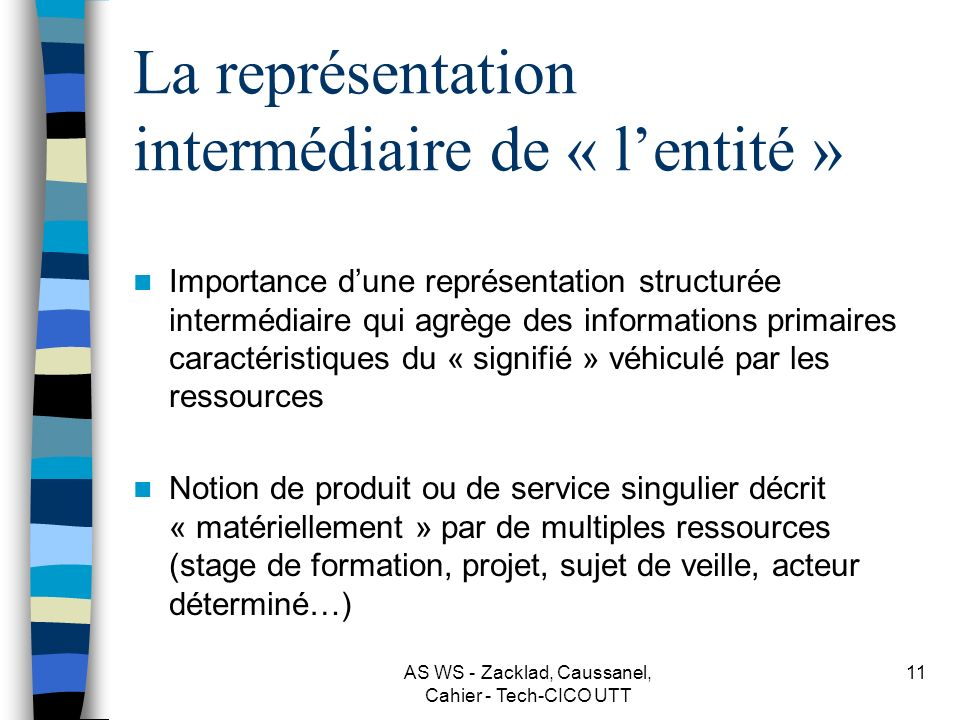 La représentation intermédiaire de « l'entité »