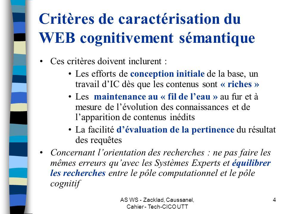 Critères de caractérisation du WEB cognitivement sémantique