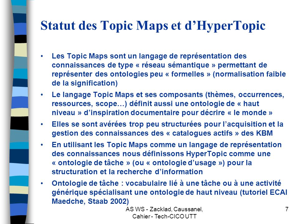 Statut des Topic Maps et d'HyperTopic