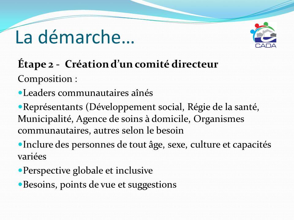 La démarche… Étape 2 - Création d'un comité directeur Composition :