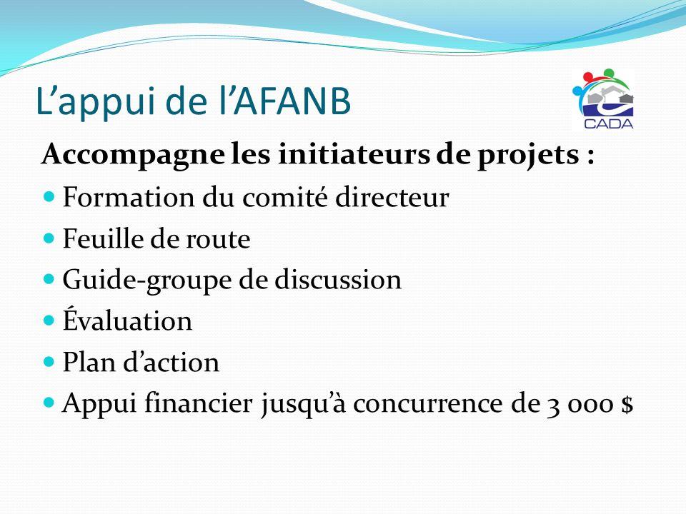 L'appui de l'AFANB Accompagne les initiateurs de projets :