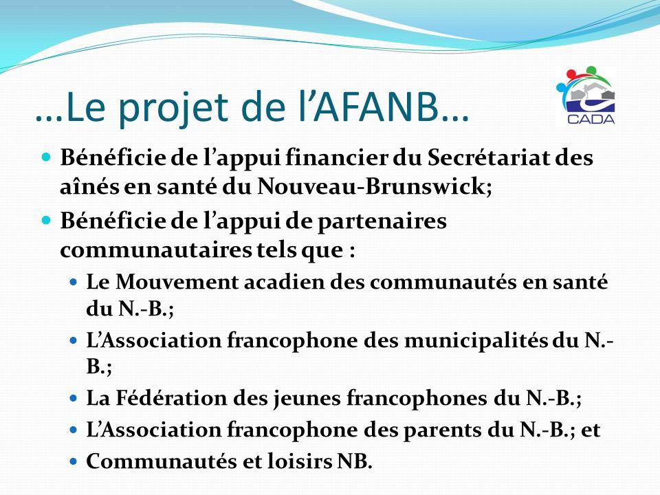 …Le projet de l'AFANB… Bénéficie de l'appui financier du Secrétariat des aînés en santé du Nouveau-Brunswick;