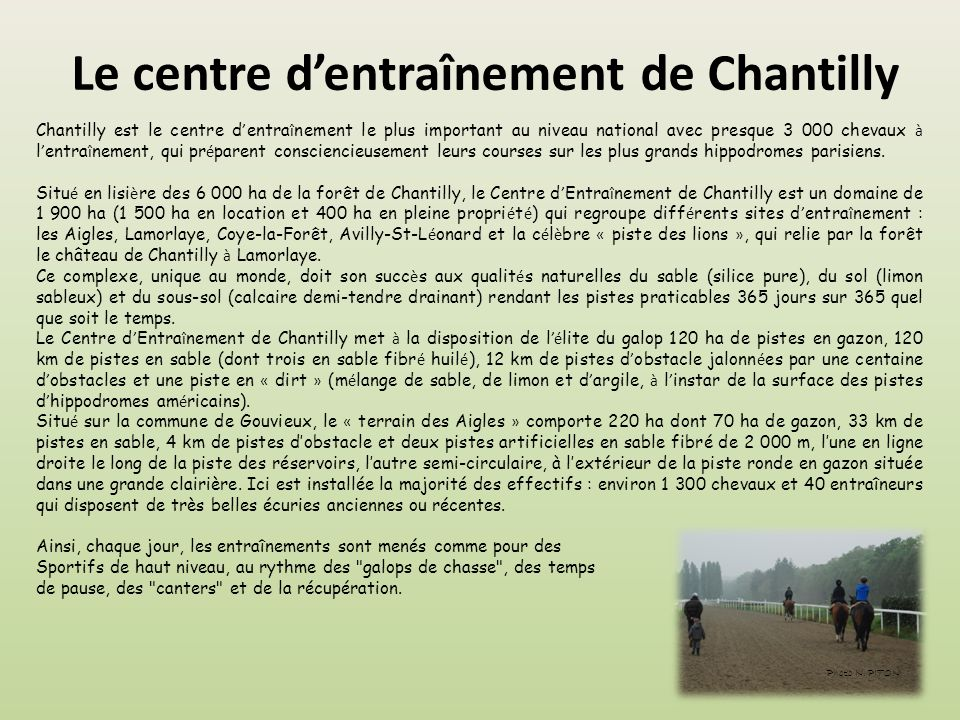 Le centre d'entraînement de Chantilly