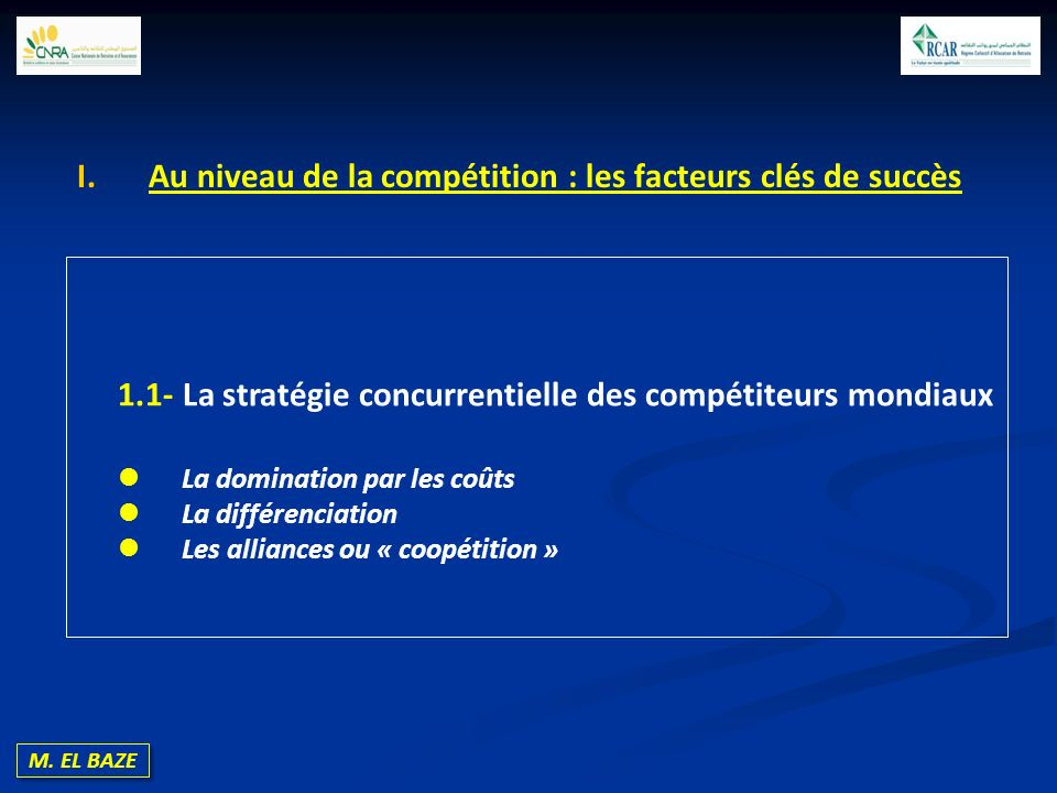 Au niveau de la compétition : les facteurs clés de succès