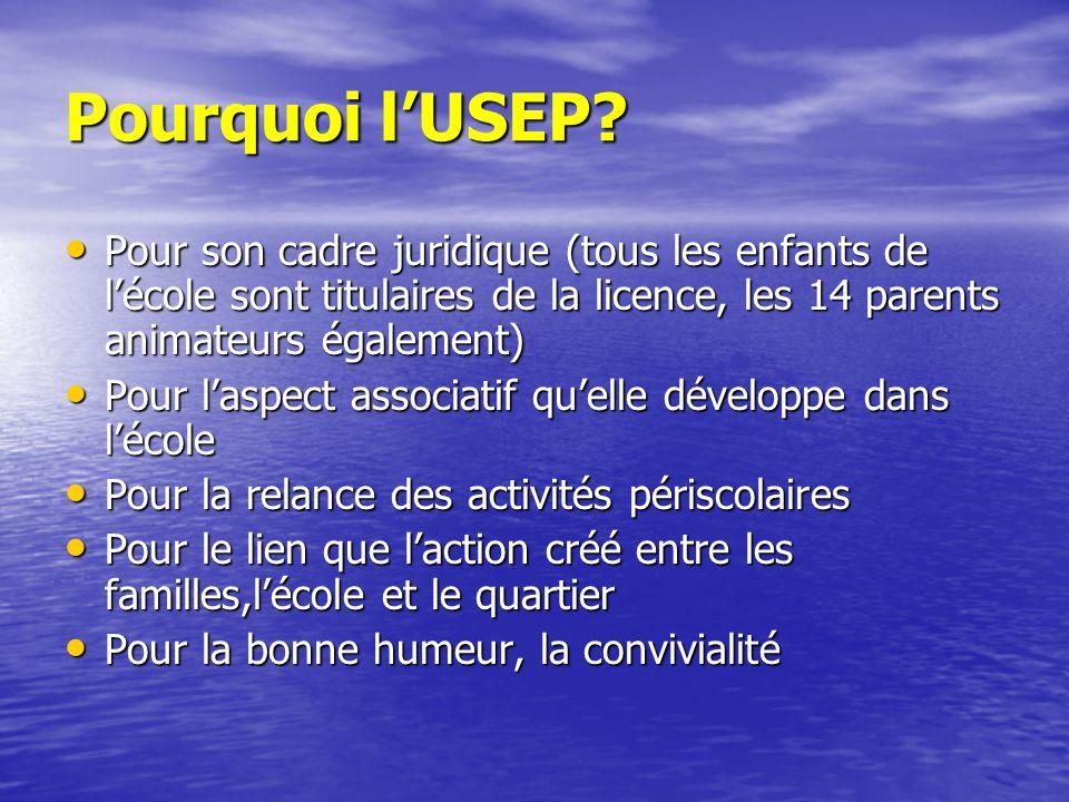 Pourquoi l'USEP Pour son cadre juridique (tous les enfants de l'école sont titulaires de la licence, les 14 parents animateurs également)