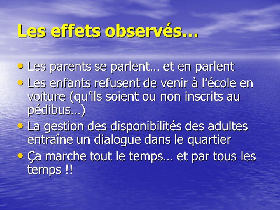 Les effets observés… Les parents se parlent… et en parlent