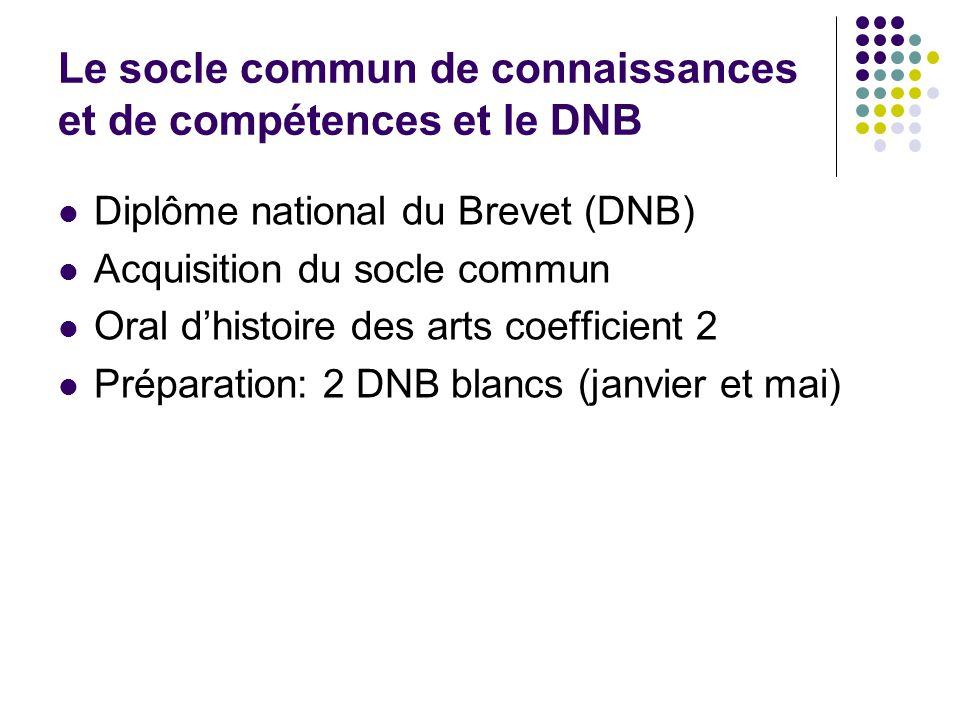 Le socle commun de connaissances et de compétences et le DNB