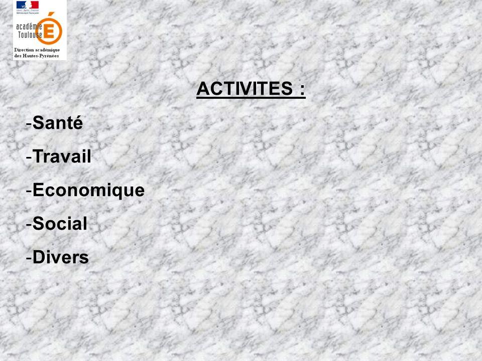 ACTIVITES : Santé Travail Economique Social Divers