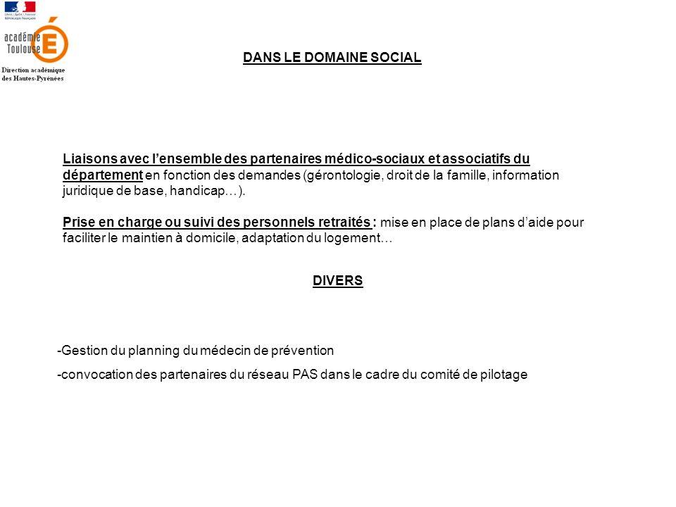 DANS LE DOMAINE SOCIAL