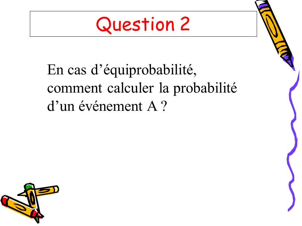 Question 2 En cas d'équiprobabilité, comment calculer la probabilité d'un événement A