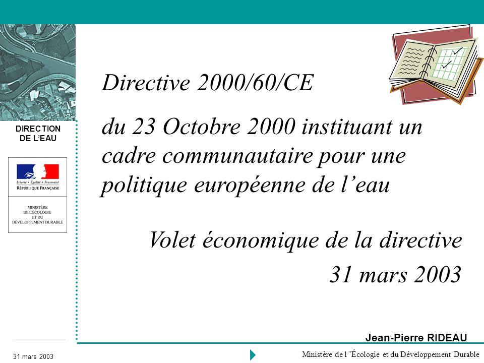 Volet économique de la directive 31 mars 2003