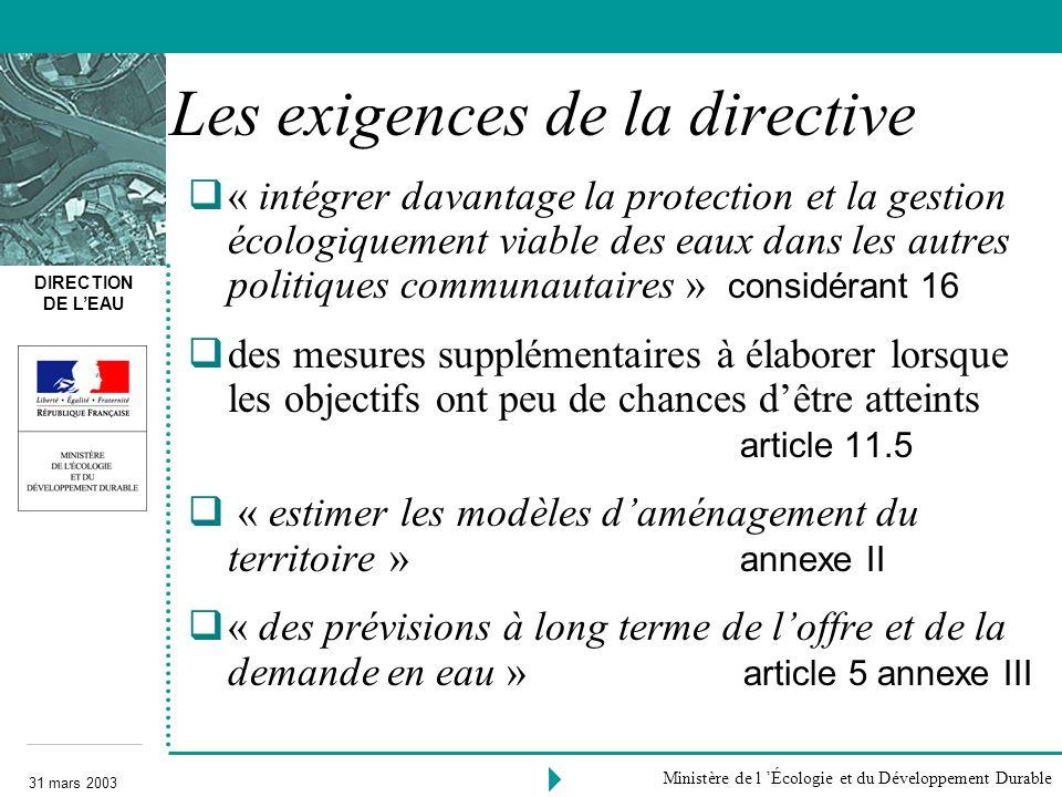 Les exigences de la directive