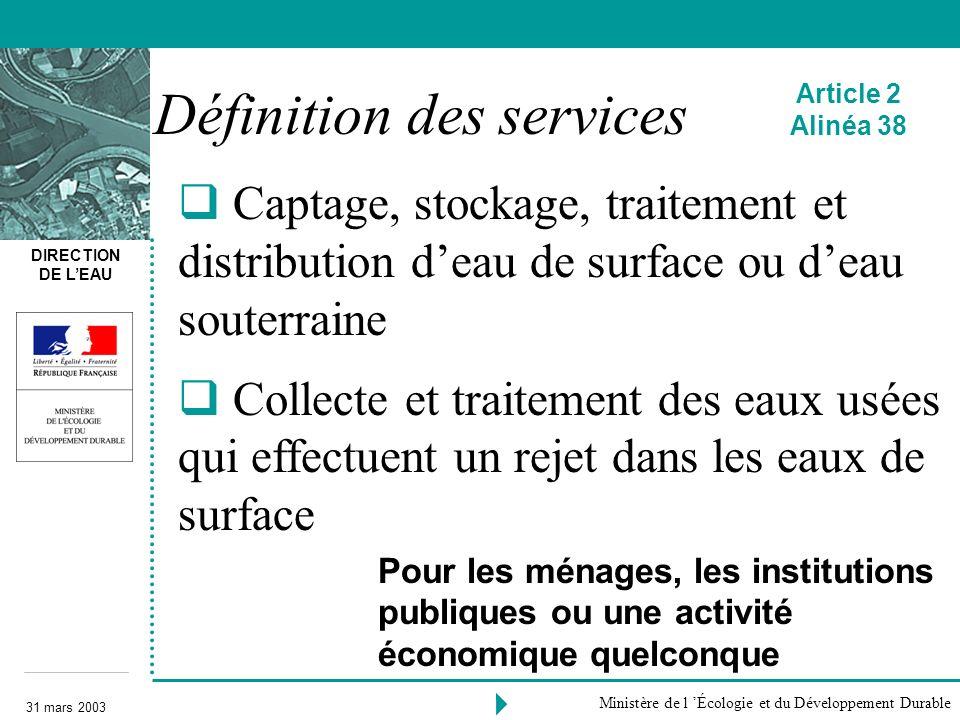 Définition des services