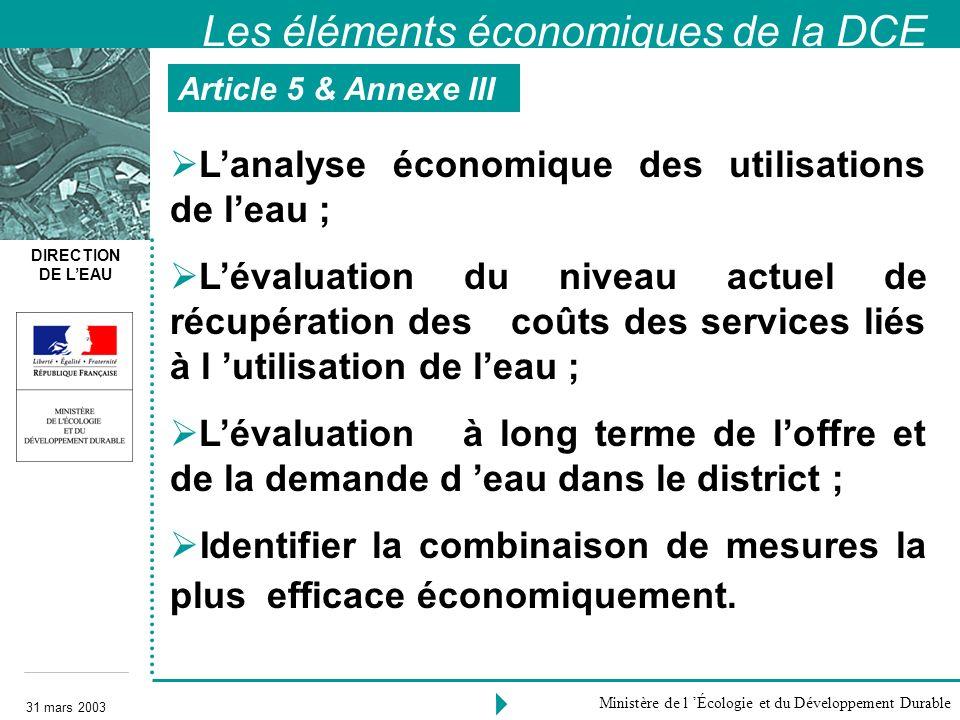 Les éléments économiques de la DCE