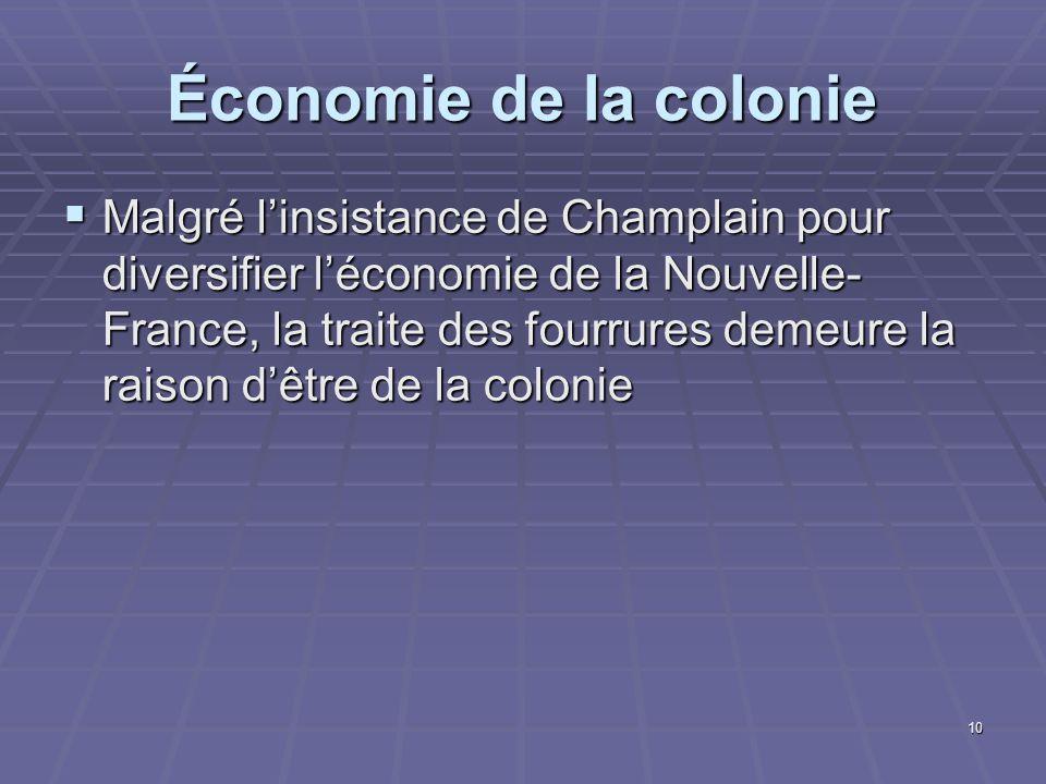 Économie de la colonie