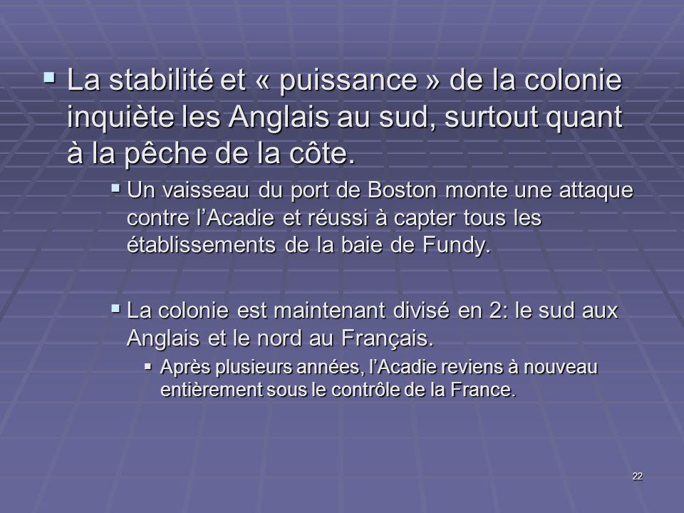 La stabilité et « puissance » de la colonie inquiète les Anglais au sud, surtout quant à la pêche de la côte.