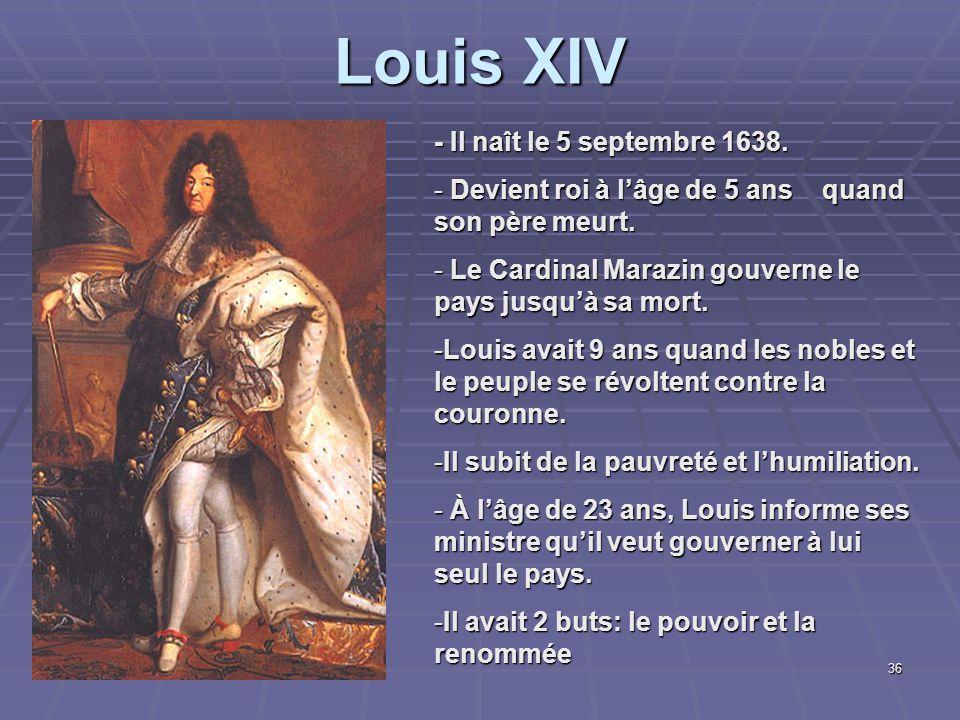 Louis XIV - Il naît le 5 septembre 1638.