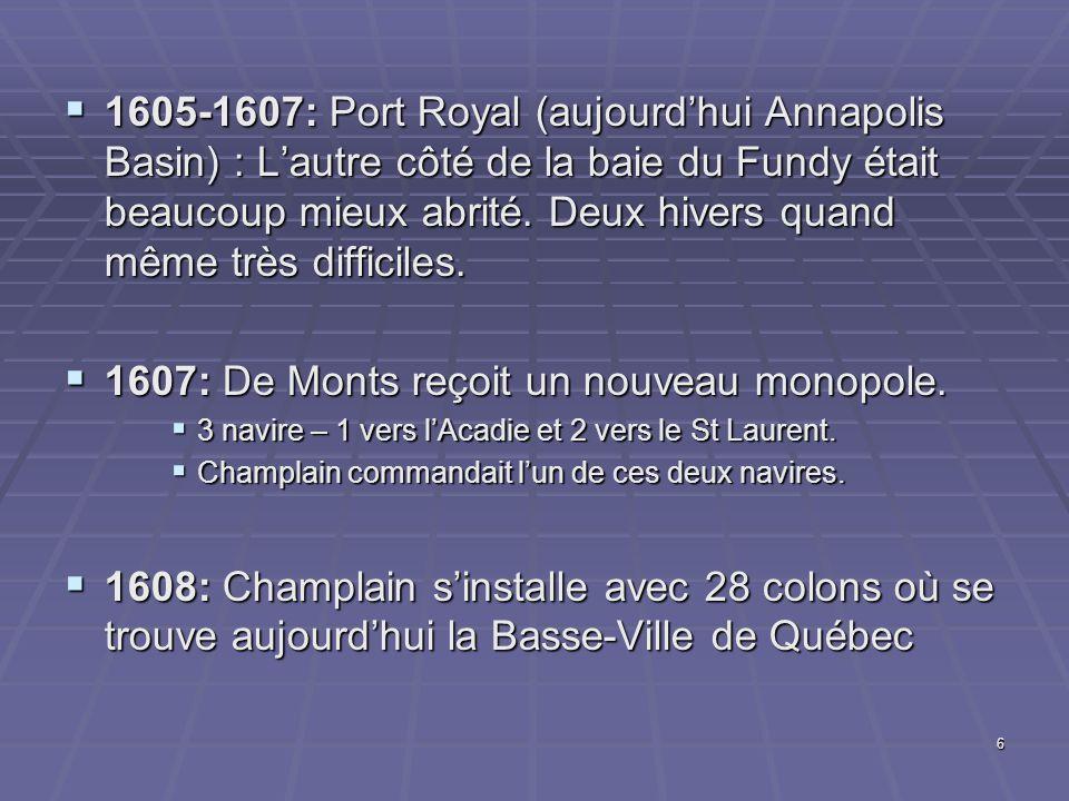 1607: De Monts reçoit un nouveau monopole.