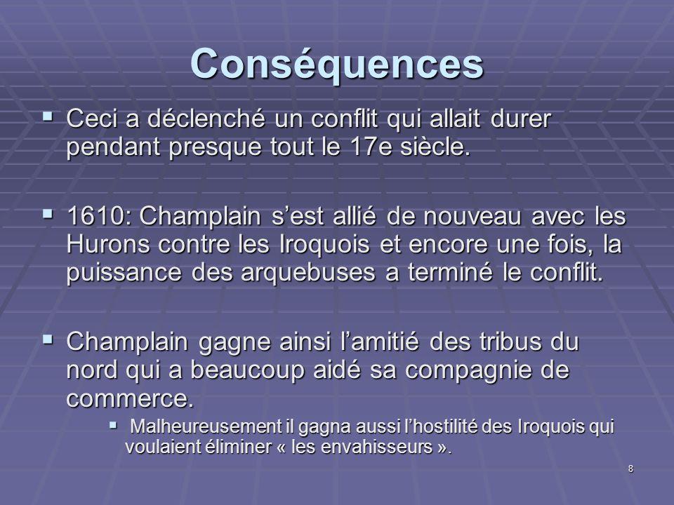 Conséquences Ceci a déclenché un conflit qui allait durer pendant presque tout le 17e siècle.