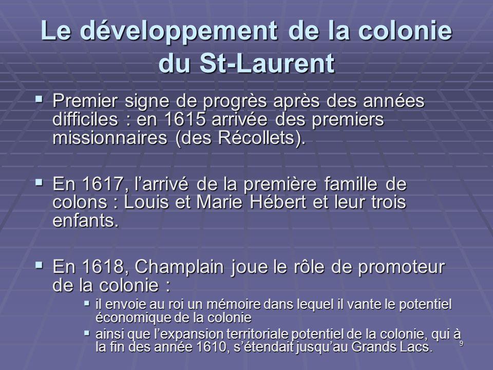 Le développement de la colonie du St-Laurent