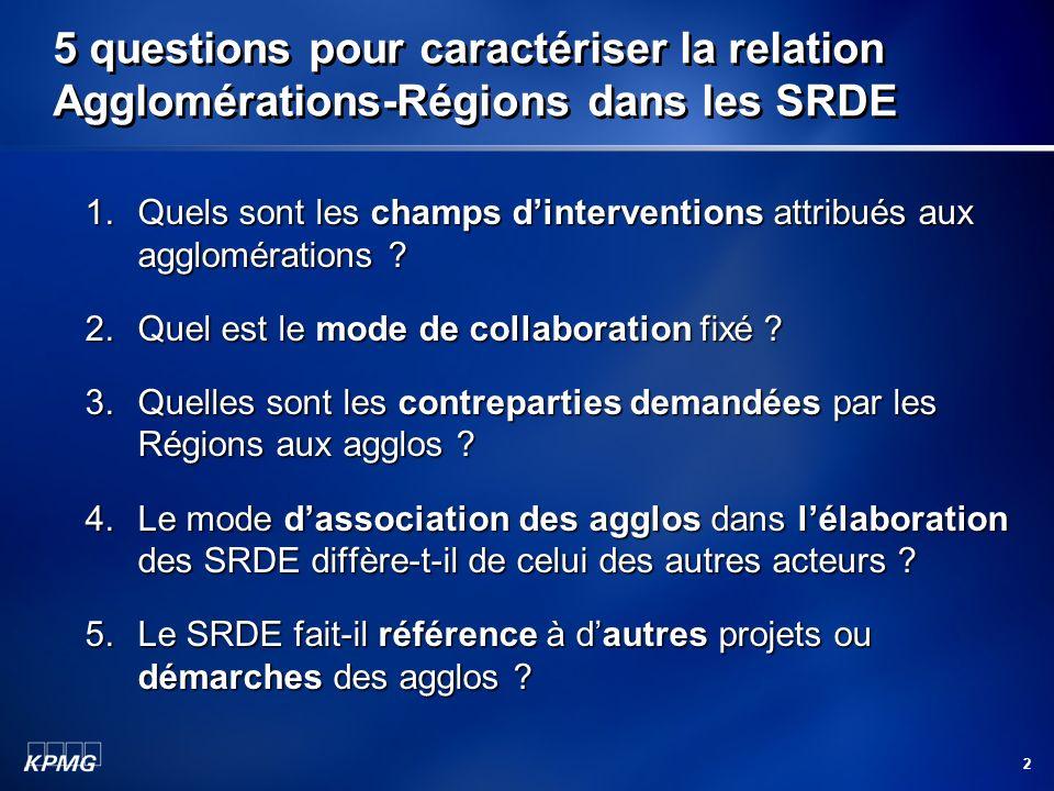 5 questions pour caractériser la relation Agglomérations-Régions dans les SRDE